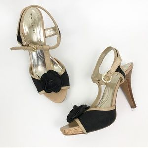 Tahari 7.5 Stacey Canvas Leather Heels Sandals